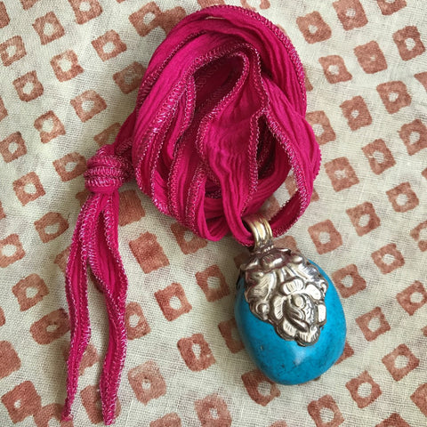 Turquoise Pendant on Hot Pink Ribbon by Sage Machado, Turquoise Necklace by Sage