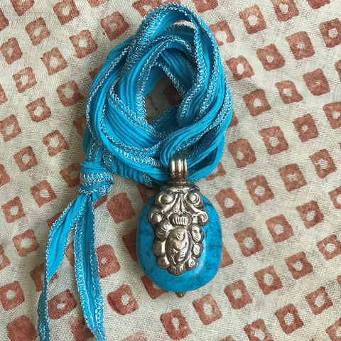 Turquoise Pendant on Turquoise Ribbon by Sage Machado, Turquoise Necklace by Sage
