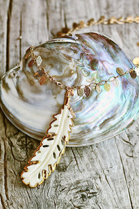 Large Bone Feather on Leaf Chain - Mermaid Soul Necklace by Sage - The Sage Lifestyle