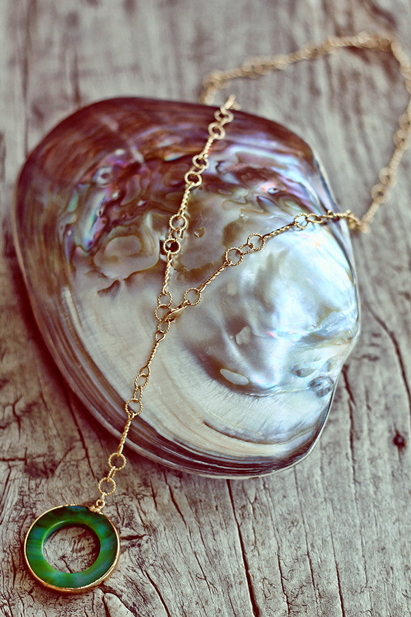 Jade Circle on Triple Circle Chain - Mermaid Soul Necklace by Sage - The Sage Lifestyle