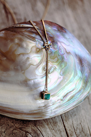 "Amazonite Cube on ""Y"" Chain - Mermaid Soul Necklace by Sage - The Sage Lifestyle"