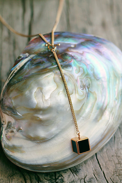 "Large Black Onyx Cube on ""Y"" Chain - Mermaid Soul Necklace by Sage - The Sage Lifestyle"