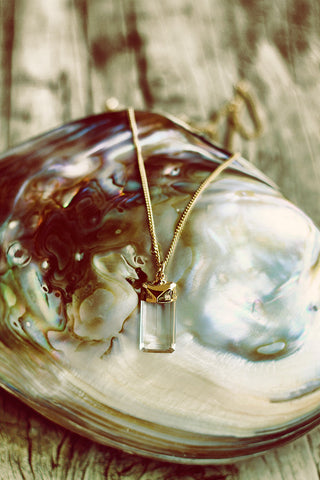 Quartz Crystal Drop on Chain - Mermaid Soul Necklace by Sage - The Sage Lifestyle