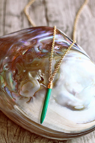 Emerald Howlite Spike on Chain - Mermaid Soul Necklace by Sage - The Sage Lifestyle