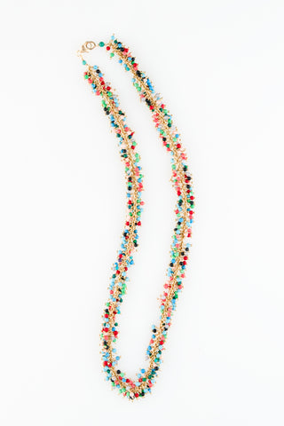 Mix Turquoise Mix Coral Onyx and Quartz Cluster Snake Necklace