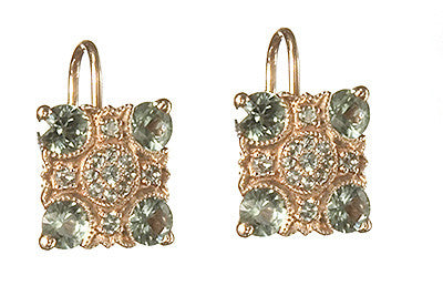 Bridal, Estate Jewelry 14K Rose Gold Empress Lever Green Sapphire Earrings by Sage - The Sage Lifestyle