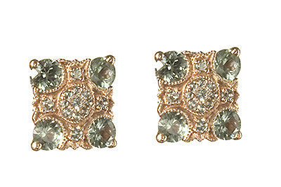 Bridal, Estate Jewelry 14K Rose Gold Empress Post Green Sapphire Earrings by Sage - The Sage Lifestyle