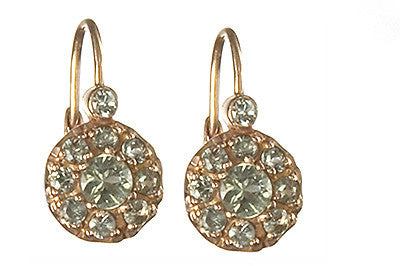 Bridal, Estate Jewelry 14K Rose Gold Duchess Lever Green Sapphire Earrings by Sage - The Sage Lifestyle