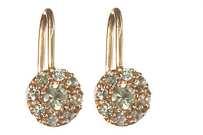 Bridal, Estate Jewelry 14K Rose Gold Princess Lever Green Sapphire Earrings by Sage - The Sage Lifestyle