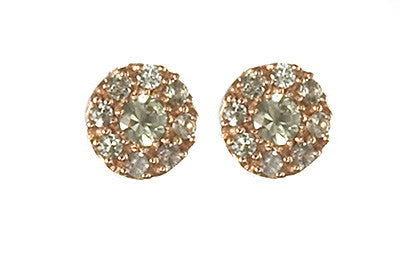 Bridal, Estate Jewelry 14K Rose Gold Princess Post Green Sapphire Earrings by Sage - The Sage Lifestyle