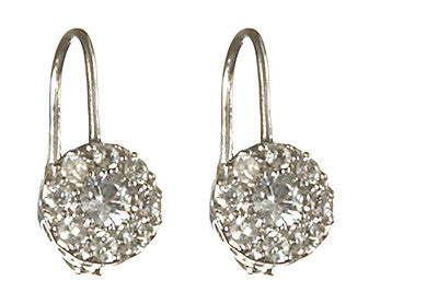 Bridal, Estate Jewelry 14K White Gold Princess Lever White Sapphire Earrings by Sage - The Sage Lifestyle