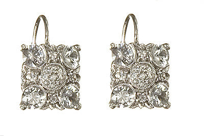 Bridal, Estate Jewelry 14K White Gold Empress Lever White Sapphire Earrings by Sage - The Sage Lifestyle