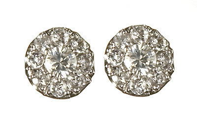 Bridal, Estate Jewelry 14K White Gold Duchess Post White Sapphire Earrings by Sage - The Sage Lifestyle