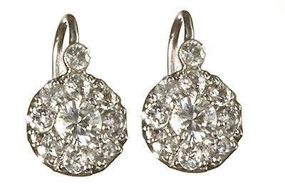 Bridal, Estate Jewelry 14K White Gold Duchess Lever White Sapphire Earrings by Sage - The Sage Lifestyle