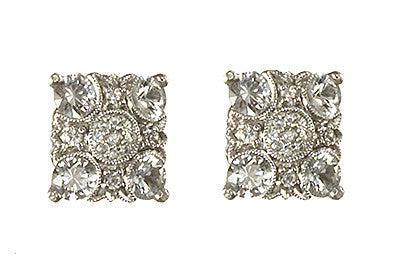 Bridal, Estate Jewelry 14K White Gold Empress Post White Sapphire Earrings by Sage - The Sage Lifestyle