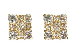 Bridal, Estate Jewelry 14K Yellow Gold Empress Post White Sapphire Earrings by Sage - The Sage Lifestyle