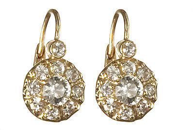 Bridal, Estate Jewelry 14K Yellow Gold Duchess Lever White Sapphire Earrings by Sage - The Sage Lifestyle