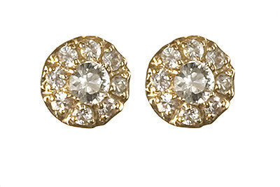 Bridal, Estate Jewelry 14K Yellow Gold Duchess Post White Sapphire Earrings by Sage - The Sage Lifestyle