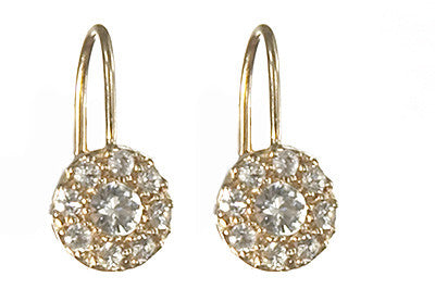 Bridal, Estate Jewelry 14K Yellow Gold Princess Lever White Sapphire Earrings by Sage - The Sage Lifestyle