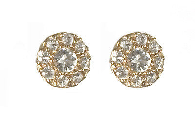 14K Yellow Gold Princess Post White Sapphire Earrings