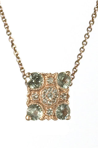 Bridal, Estate Jewelry 14K Rose Gold Empress Green Sapphire Necklace by Sage - The Sage Lifestyle