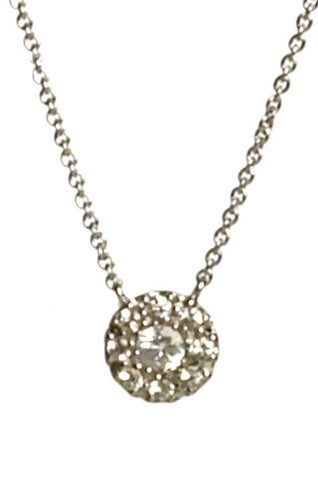 Bridal, Estate Jewelry 14K White Gold Princess White Sapphire Necklace by Sage - The Sage Lifestyle