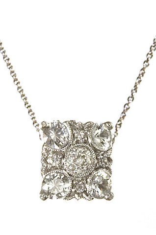Bridal, Estate Jewelry 14K White Gold Empress White Sapphire Necklace by Sage - The Sage Lifestyle