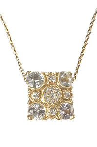 Bridal, Estate Jewelry 14K Yellow Gold Empress White Sapphire Necklace by Sage - The Sage Lifestyle