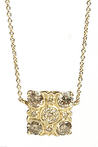 Bridal, Estate Jewelry 14K Yellow Gold Empress Champagne Diamond Necklace by Sage - The Sage Lifestyle