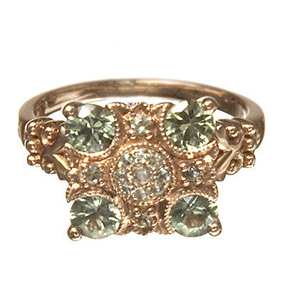 Bridal, Estate Jewelry 14K Rose Gold Empress Green and White Sapphire Ring by Sage - The Sage Lifestyle