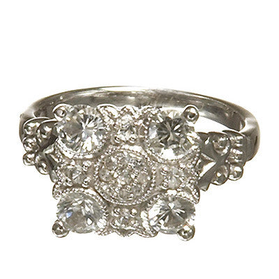Bridal, Estate Jewelry 14K White Gold Empress White Sapphire Ring by Sage - The Sage Lifestyle