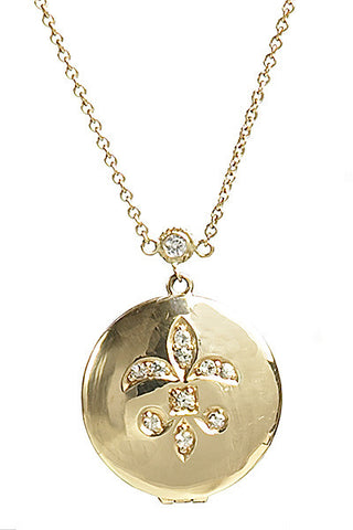 Bridal, Estate Jewelry Petite Fleur de Lys Locket Yellow Gold by Sage - The Sage Lifestyle