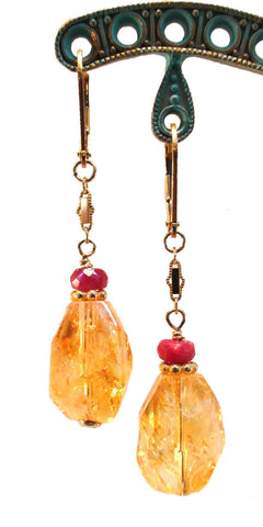 Citrine and Ruby Earrings