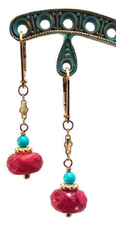 Faceted Ruby and Turquoise Earrings - The Sage Lifestyle