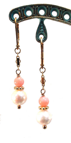 Cultured Pearl and Coral Earrings - The Sage Lifestyle