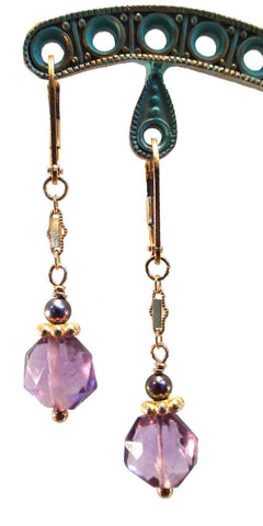 Faceted Amethyst and Freshwater Purple Pearl Earrings