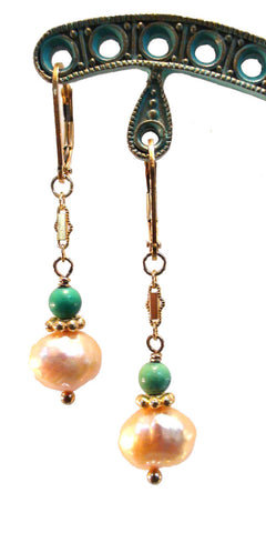 Honeycomb Freshwater Pearl and Turquoise Earrings
