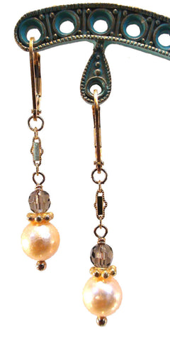 Freshwater Peach Pearl and Ruby Earrings