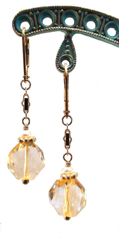 Citrine Disc and Freshwater Pearl Earrings