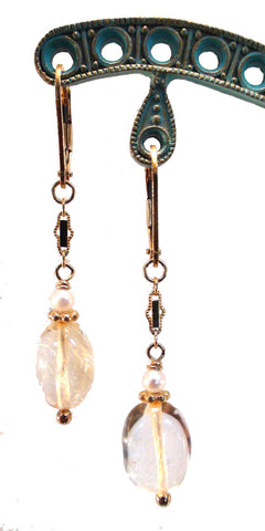Citrine Nugget and Freshwater Pearl Earrings
