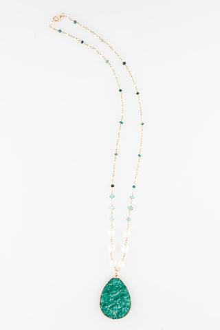 Russian Amazonite With Cultured Pearls Apetite and Raw Emeralds Fresh Water Pearls