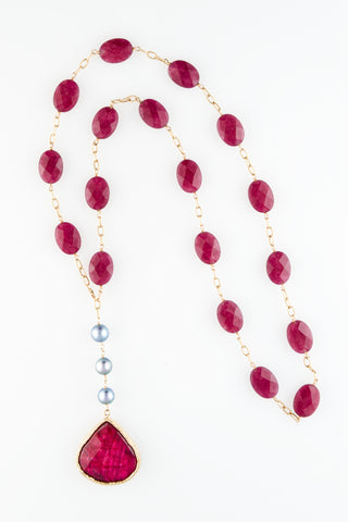 Ruby Tier Drop on Fuschia Jade and Cultured Blue Pearls