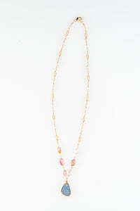 Opal Charm on Pink Tourmaline and Ice Fresh Water Pearls - One of a Kind Gemstone necklace by Sage - The Sage Lifestyle
