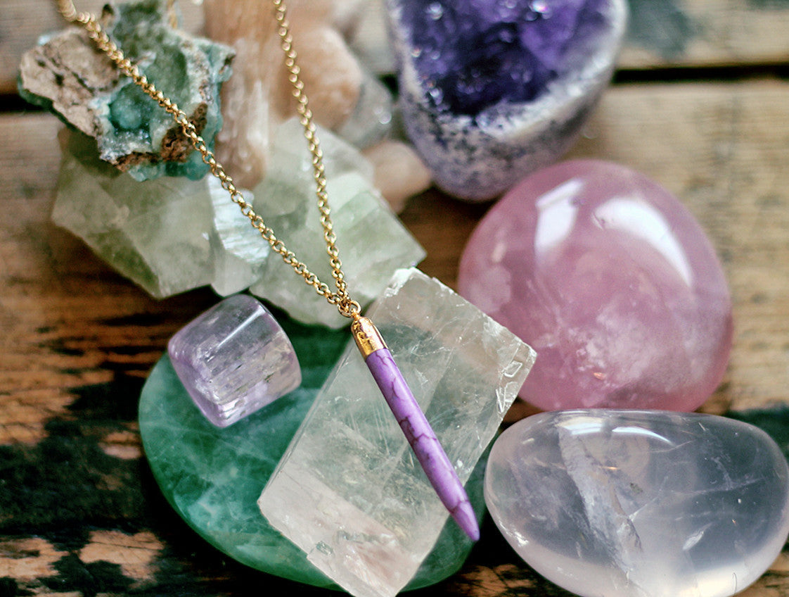Gypsy Star Lilac Howlite spike on gold chain necklace by Sage - The Sage Lifestyle
