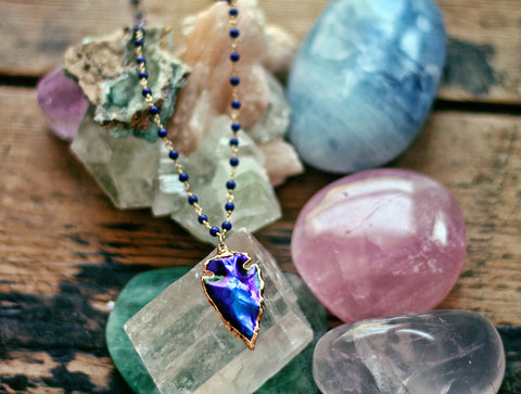 Gypsy Star Mystic Jasper Arrowhead on Blue Lapis necklace by Sage - The Sage Lifestyle