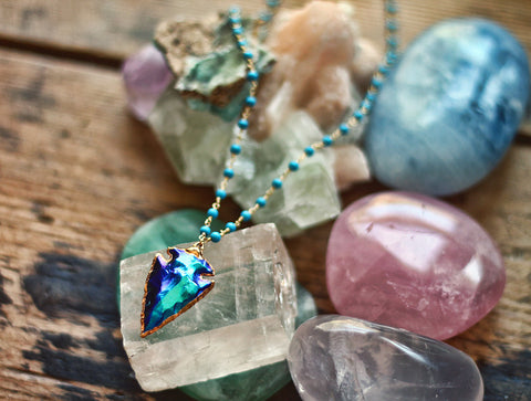 Gypsy Star Mystic Jasper Arrowhead on Turquoise necklace by Sage