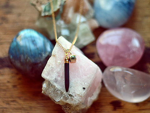 Gypsy Star Black Howlite spike with Pyrite cube on gold chain necklace by Sage - The Sage Lifestyle