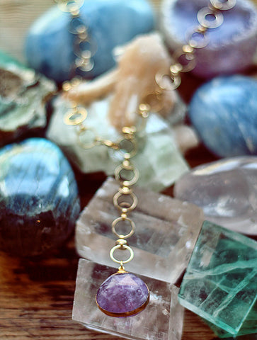 Gypsy Star Cape Amethyst tier drop pendant on gold chain necklace by Sage