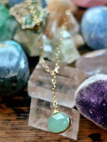 Gypsy Star Fluorite tier drop pendant on gold chain necklace by Sage - The Sage Lifestyle