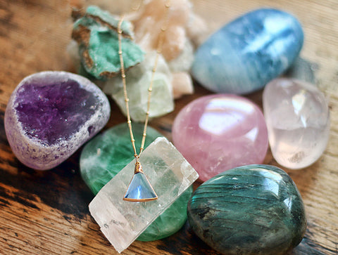 Gypsy Star Blue Hydro Quartz Triangle charm on gold chain necklace by Sage